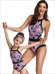 Mommy & Me Geometric & Floral Print One Piece Swimsuit - Black / Mom S - Mommy & Me Swimsuit