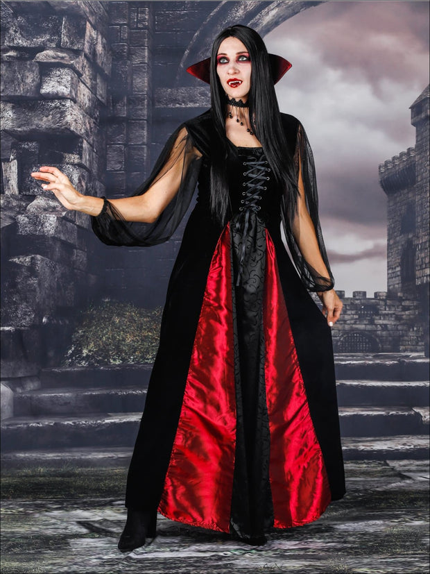 Mommy & Me Gothic Vampire Halloween Costumes - Red / Mom S - Mommy & Me Costume