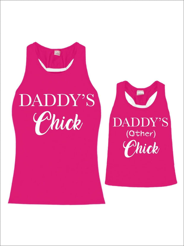 Mommy & Me Hot Pink White Bow Racerback Daddys Chick Tank - Mommy & Me Top