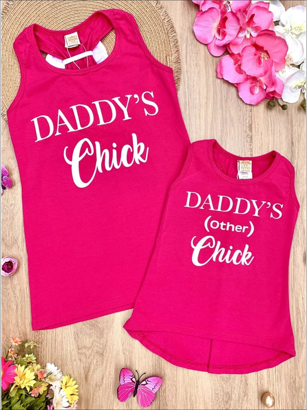 Mommy & Me Hot Pink White Bow Racerback Daddys Chick Tank - Hot Pink / 6MOS-9MOS - Mommy & Me Top