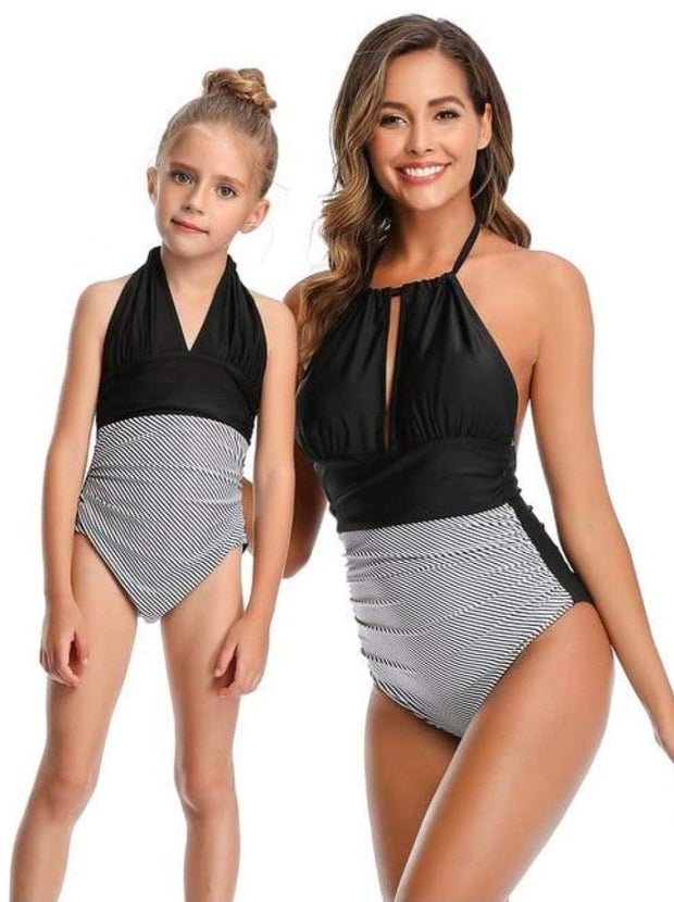 Mommy & Me Leaf One Piece Swimsuit - Black Stripped / Mom S - Mommy & Me Swimsuit