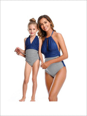 Mommy & Me Leaf One Piece Swimsuit - Blue Stripped / Mom S - Mommy & Me Swimsuit