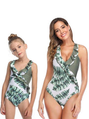 Mommy & Me Leaf One Piece Swimsuit - Green 1 / Mom S - Mommy & Me Swimsuit