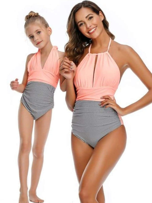Mommy & Me Leaf One Piece Swimsuit - Peach Stripped / Mom S - Mommy & Me Swimsuit