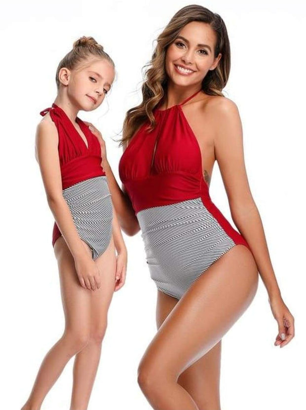 Mommy & Me Leaf One Piece Swimsuit - Red Stripped / Mom S - Mommy & Me Swimsuit