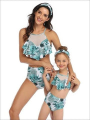 Mommy & Me Leaf Print Mesh Ruffled High Waist Two Piece Swimsuit - Mommy & Me Swimsuit