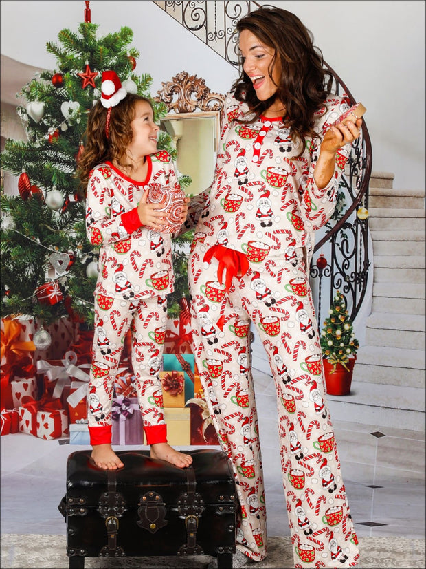 Mommy & Me Long Sleeve Button Down Christmas Print Pajama Set with Satin Bow - Mommy & Me Pajamas