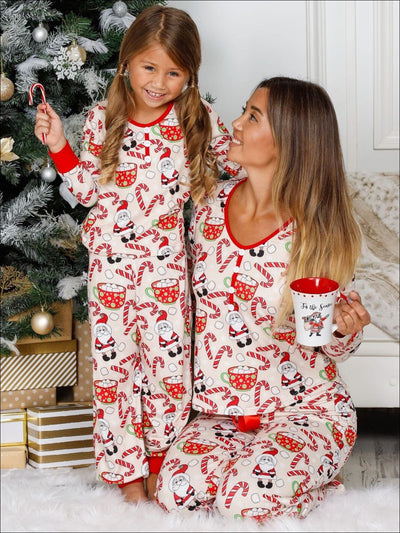 Mommy & Me Long Sleeve Button Down Christmas Print Pajama Set with Satin Bow - Beige / 2T/3T - Mommy & Me Pajamas