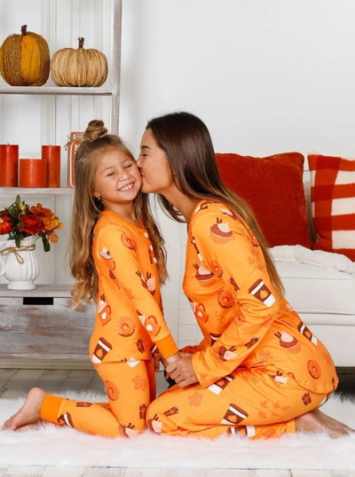 Mommy & Me Long Sleeve Buttoned Pumpkin Spice Season and Fall Print Pajama Set - Mommy & Me Pajamas