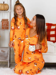 Mommy & Me Long Sleeve Buttoned Pumpkin Spice Season and Fall Print Pajama Set - Orange / 2T/3T - Mommy & Me Pajamas