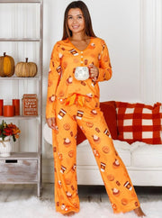 Mommy & Me Long Sleeve Buttoned Pumpkin Spice Season and Fall Print Pajama Set - Orange / XS - Mommy & Me Pajamas