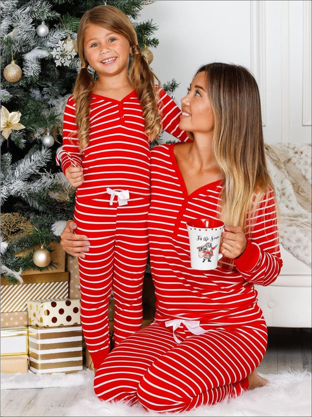 Mommy & Me Long Sleeve Cuffed Holiday Pajamas - Mommy & Me Pajamas