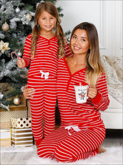 Mommy & Me Long Sleeve Cuffed Holiday Pajamas - Red / 4T - Mommy & Me Pajamas