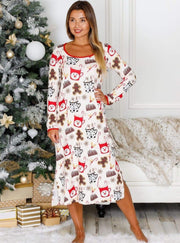 Mommy & Me Long Sleeve Side Slit Holiday Nightgown Pajama - Mommy & Me Pajamas