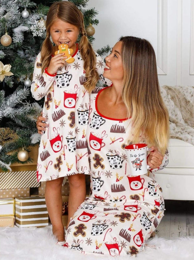 Mommy & Me Long Sleeve Side Slit Holiday Nightgown Pajama - Beige / 2T/3T - Mommy & Me Pajamas