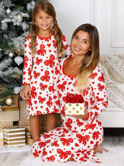 Mommy & Me Long Sleeve Side Slit Holiday Nightgown Pajama - Red / 2T/3T - Mommy & Me Pajamas