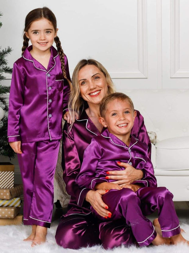 Mommy & Me Long Sleeve Silky Satin Pajama Set - Mommy & Me Pajama