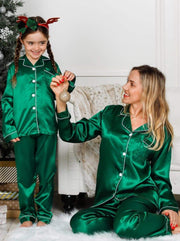 Mommy & Me Long Sleeve Silky Satin Pajama Set - Green / Mom S - Mommy & Me Pajama
