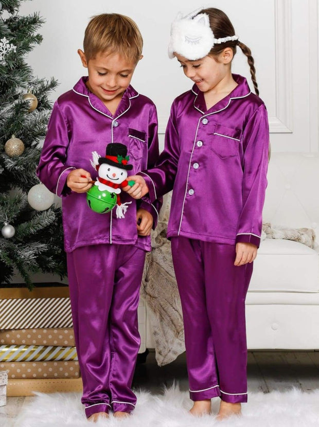 Mommy & Me Long Sleeve Silky Satin Pajama Set - Purple / Mom S - Mommy & Me Pajama