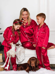 Mommy & Me Long Sleeve Silky Satin Pajama Set - Red / Mom S - Mommy & Me Pajama