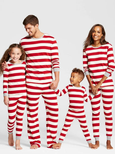 Mommy & Me Long Sleeve Striped Christmas Pajamas - Red / Women S - Mommy & Me Pajama