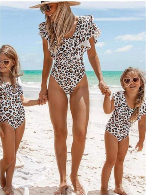 Mommy & Me Matching Animal Print Off the Shoulder Ruffled One Piece Swimsuit - Mommy & Me One Piece Swimsuit