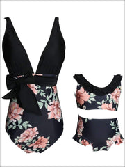 Mommy & Me Matching Black Floral Print Swimsuit - Mommy & Me Swimsuit