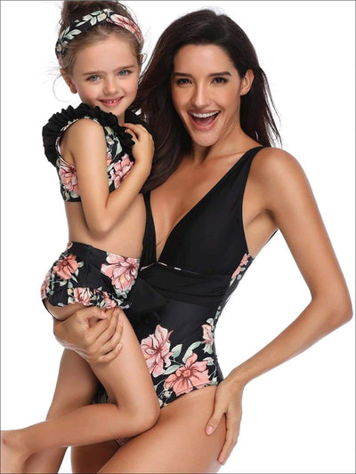 Mommy & Me Matching Black Floral Print Swimsuit - Black / Mom S - Mommy & Me Swimsuit