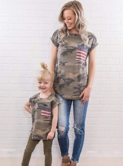 Mommy & Me Matching Camo Print Tee with American Flag Pocket - Mommy & Me Top