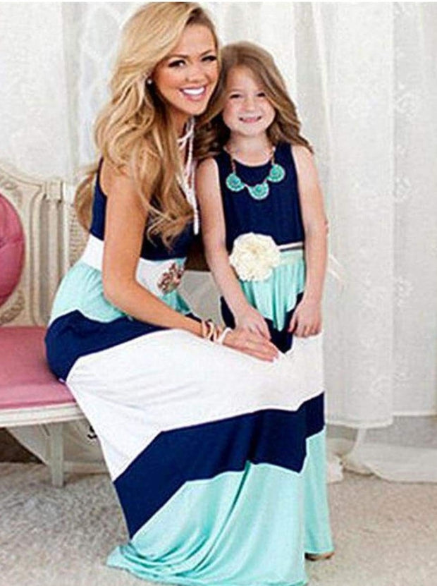 Mommy & Me Matching Chevron Print Maxi Dress - Navy/Mint/White / Mom S - Mommy & Me