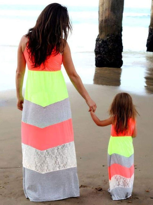 Mommy & Me Matching Chevron Print Maxi Dress - Neon Green/Grey/Orange/Lace / Mom S - Mommy & Me