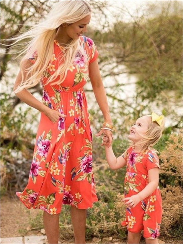 Mommy & Me Matching Floral Print Bohemian Dress - Mommy & Me