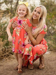 Mommy & Me Matching Floral Print Bohemian Dress - Orange / Mom S - Mommy & Me
