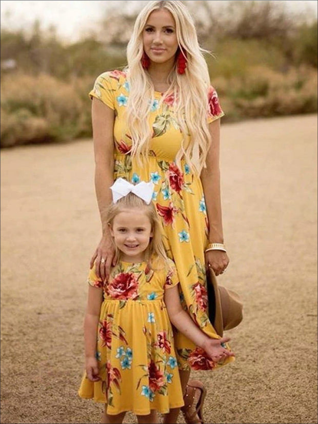 Mommy & Me Matching Floral Print Bohemian Dress - Yellow / Mom S - Mommy & Me