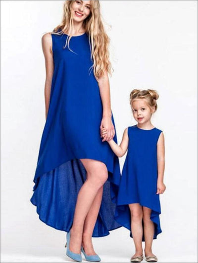 Mommy & Me Matching Hi-Lo Blue Sleeveless Dress - Mommy & Me