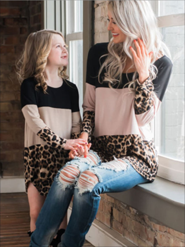 Mommy & Me Matching Leopard Tunic - Beige / S - Mommy & Me Top