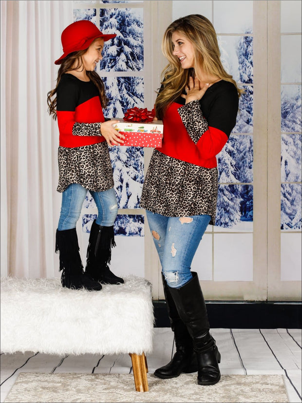 Mommy & Me Matching Leopard Tunic - Red / S - Mommy & Me Top