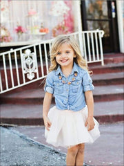 Mommy & Me Matching Long Sleeve Denim Tutu Skirt Set - Mommy and Me