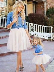 Mommy & Me Matching Long Sleeve Denim Tutu Skirt Set - Denim / Small - Mommy and Me
