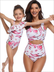 Mommy & Me Matching Mermaid Print One Piece Swimsuit - White / Mom S - Mommy & Me Swimsuit
