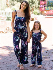 Mommy & Me Matching Mother Daughter Navy Floral Jumpsuit - Mommy & Me Jumpsuit