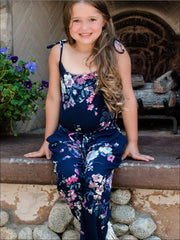 Mommy & Me Matching Mother Daughter Navy Floral Jumpsuit - Navy / Girls 3T/4T - Mommy & Me Jumpsuit