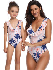 Mommy & Me Matching Palm Tree & Flamingo Print Flutter Sleeve One Piece Swimsuit - Mommy & Me Swimsuit