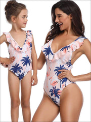 Mommy & Me Matching Palm Tree & Flamingo Print Flutter Sleeve One Piece Swimsuit - White / Mom S - Mommy & Me Swimsuit