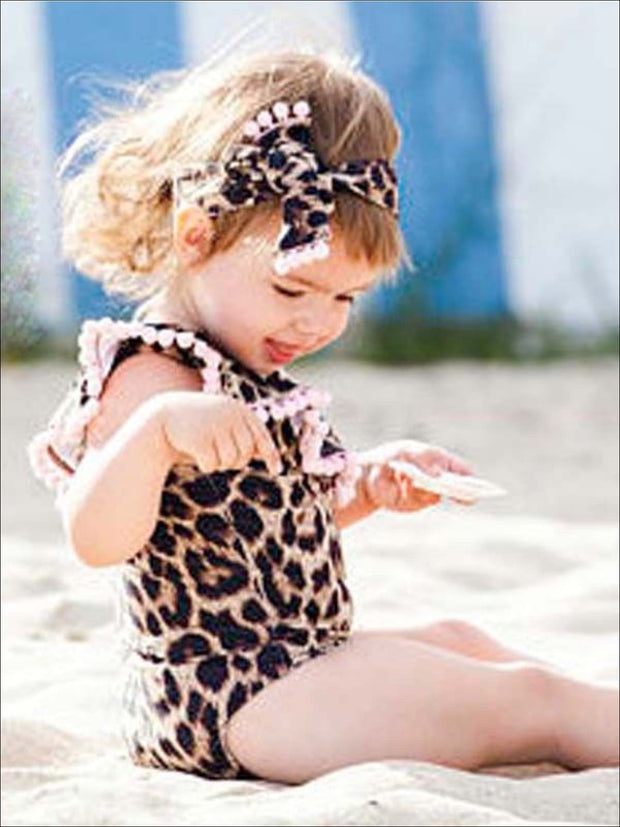 Mommy & Me Matching Ruffled Leopard Print One Shoulder Swimsuit - Mommy and Me Swimsuit