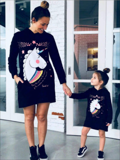 Mommy & Me Matching Unicorn Print Hoodie Dress - Mommy & Me Dress