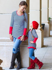 Mommy & Me Navy & Red Matching Asymmetric Striped Tunic - Mommy & Me Fall Tunic