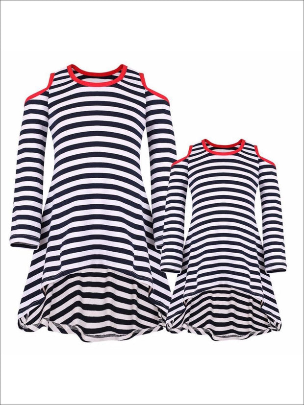 Mommy & Me Navy & Red Matching Cold Shoulder Striped Hi-Lo Elbow Patch Heart Applique Tunic - Mommy & Me Fall Tunic