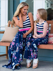 Mommy & Me Navy Striped Floral Print Sleeveless Maxi Dress - Mommy & Me Spring Casual Dress