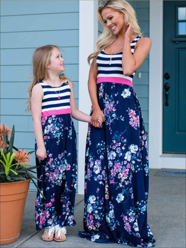 Mommy & Me Navy Striped Floral Print Sleeveless Maxi Dress - Navy / Mom S - Mommy & Me Spring Casual Dress